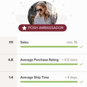 Buy with confidence  from a Poshmark Ambassador!